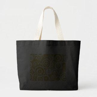 golden_brown_retro_circles tote bags