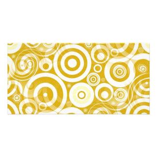 golden_brown_retro_circles photo card template