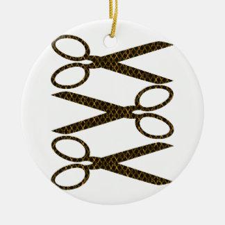 Golden Brown Scissors / Scissor Stripes Ceramic Ornament