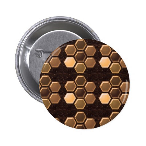 Golden Brown Sexagon : Elegant Decorations Buttons