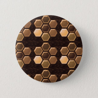 Golden Brown Sexagon : Elegant Decorations Pinback Button