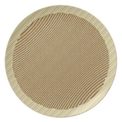 Golden brown striped  pattern plate
