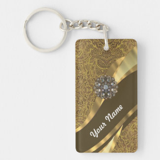 Golden brown swirl pattern rectangle acrylic key chain