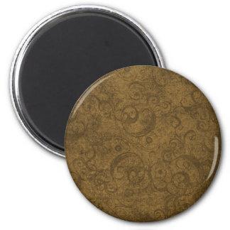 Golden Brown Swirl Pattern Fridge Magnets