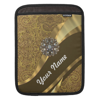 Golden brown swirl pattern sleeve for iPads