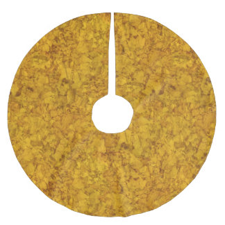 Golden Brown Texture Rustic Pattern Brushed Polyester Tree Skirt