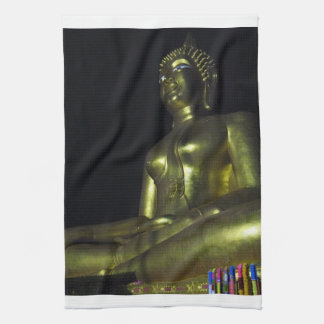 Golden Buddha at Night Kitchen Towel