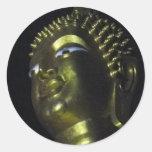 Golden Buddha at Night Round Stickers