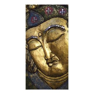 Golden Buddha Eyes Closed Praying Meditating Photo Card
