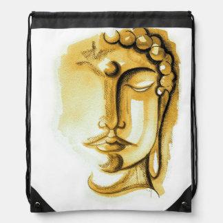 GOLDEN BUDDHA FACE Drawstring Backpack