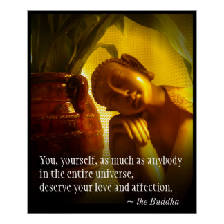 Golden Buddha Green Leaves Quote Love Affection Poster