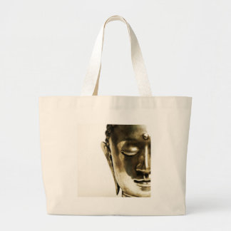 Golden Buddha Head Large Tote Bag