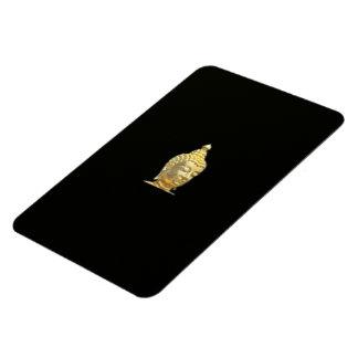 golden buddha in black magnet