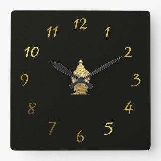 golden buddha in black square wall clock
