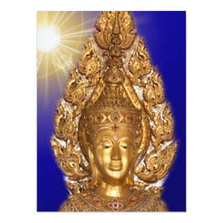 golden buddha in blue card