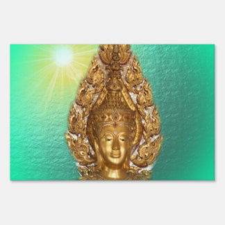 golden buddha in mint sign