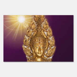 golden buddha in purple sign