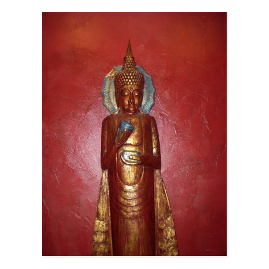 GOLDEN BUDDHA ON RED WALL POSTCARD