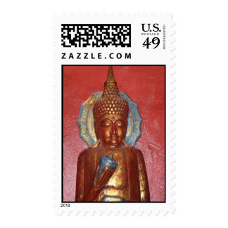 golden buddha on red wall STAMP