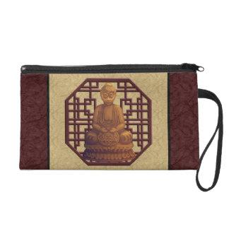 Golden Buddha Pixel Art Wristlet