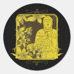 Golden Buddha Round Stickers