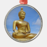 Golden Buddha statue Round Metal Christmas Ornament