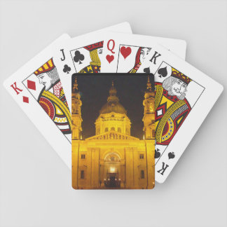 Golden Building at Night Poker Cards