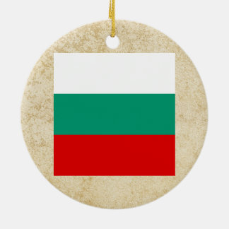 Golden Bulgaria Flag Double-Sided Ceramic Round Christmas Ornament