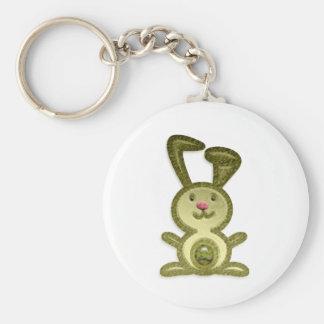 Golden Bunny Basic Round Button Keychain