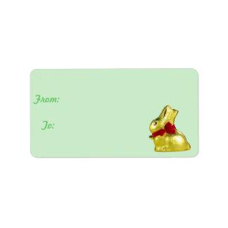 Golden Bunny Gift Tag Custom Address Label