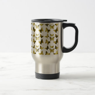 Golden Butterflies Spiral Pattern 15 Oz Stainless Steel Travel Mug