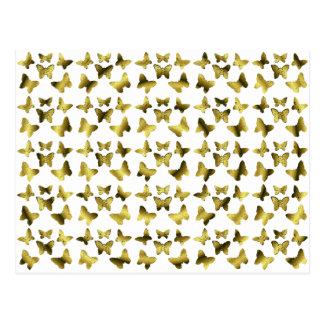Golden Butterflies Spiral Pattern Postcard