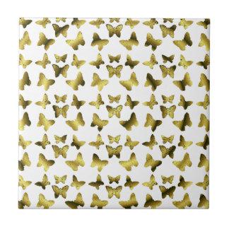 Golden Butterflies Spiral Pattern Ceramic Tiles