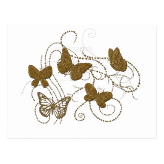 Golden Butterflies with Golden Swirls Postcard