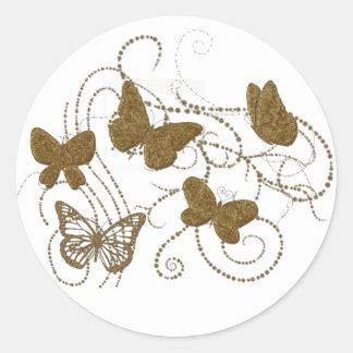 Golden Butterflies with Golden Swirls Round Stickers