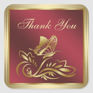 Golden butterfly and swirls on dark red Thank You Square Sticker