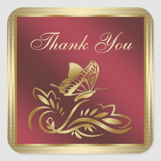 Golden butterfly and swirls on dark red Thank You Stickers