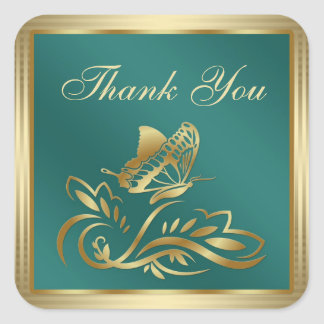 Golden butterfly and swirls on teal Thank You Sticker