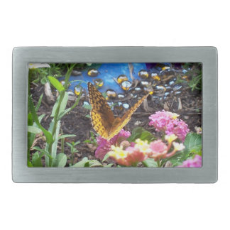 Golden Butterfly by Flowers & Pond Belt Buckle