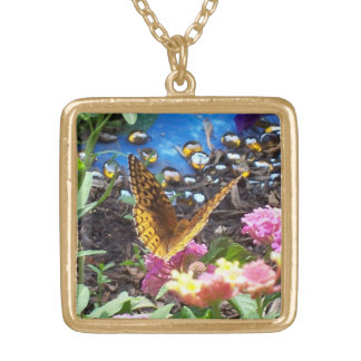 Golden Butterfly by Flowers & Pond Square Pendant Necklace