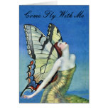 Golden Butterfly Fairy Note Card