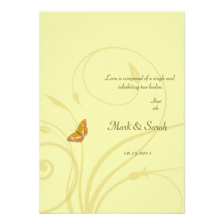 Golden Butterfly Flourish Invitation