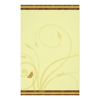 Golden Butterfly Flourish Stationary Customized Stationery