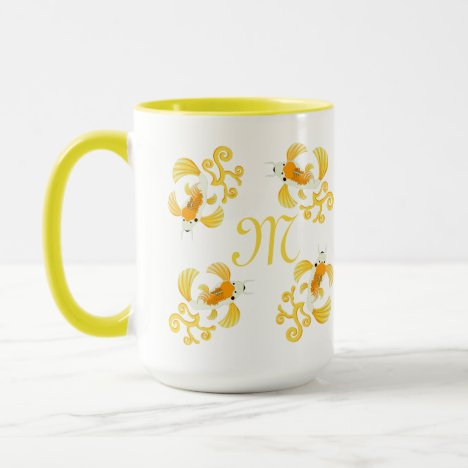 Golden Butterfly Koi Monogram Mug