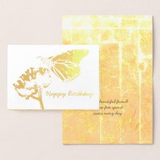 Golden Butterfly on Flower Friend Birthday Foil Card