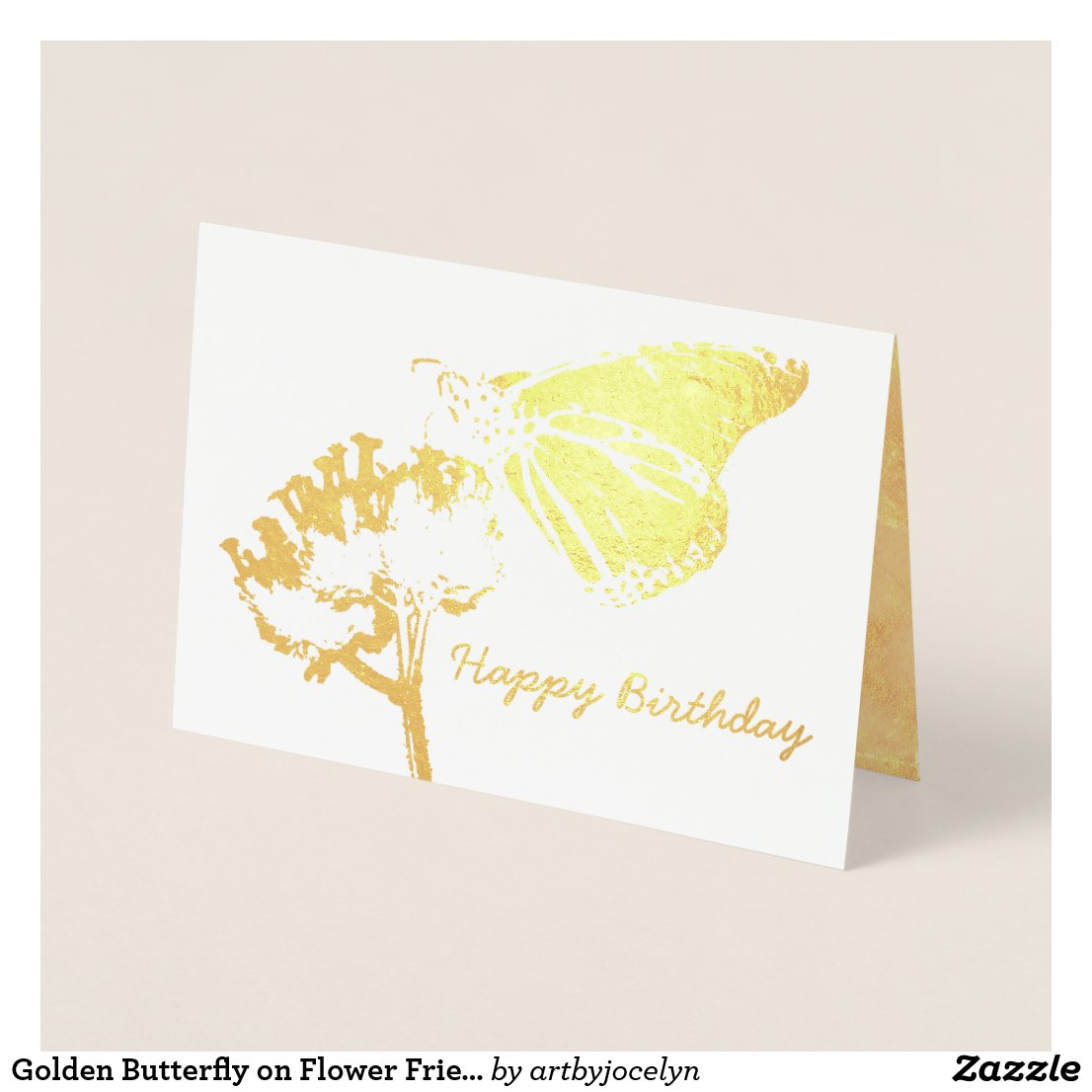Golden Butterfly on Flower Friend Birthday Foil Card