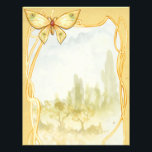 """Golden Butterfly Spell Page<br><div class=""""desc"""">A gorgeous Golden Butterfly sits at the top of this page trimmed in abstract gold designs with a scenic background. These pages are perfect for 3 ring Binders.</div>"""