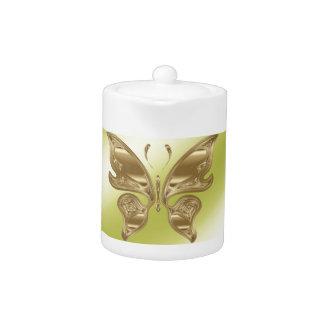 Golden butterfly teapot