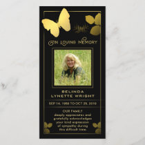 Golden Butterfly Thank You Photo Sympathy Card