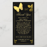 """Golden Butterfly Thank You Sympathy Card<br><div class=""""desc"""">Golden Butterfly Thank You Sympathy Card - Art &amp; Design by Julie Alvarez - A simple yet elegant memorial thank you card to honor a loved one and send a note of thanks to friends and family. Easily change the text. If you need any help customizing, please email me at...</div>"""